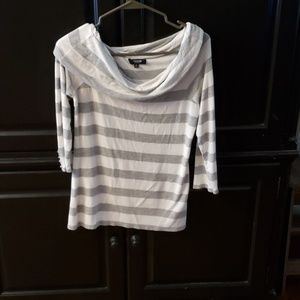 Gray and white striped off the shoulder top
